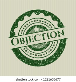 Green Objection distress rubber grunge stamp