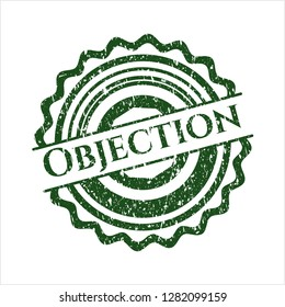 Green Objection distressed grunge style stamp