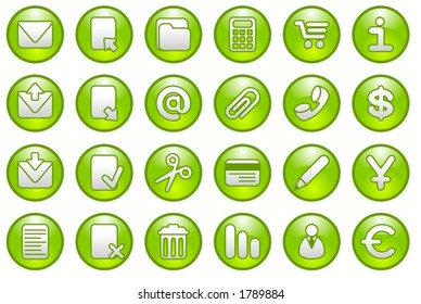 Green office and business icons