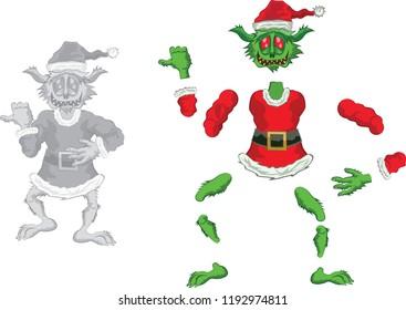 Green Ogre in Christmas for Animation