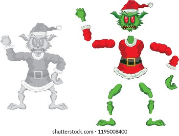 Green Ogre in Christmas for Animation  angry