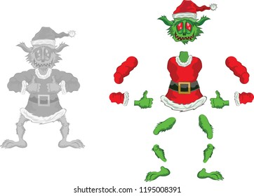Green Ogre in Christmas for Animation Double OK laughing