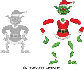 Green Ogre in Christmas for Animation laughing