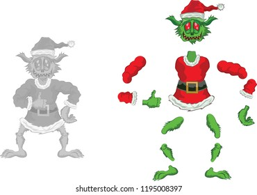 Green Ogre in Christmas for Animation ok  laughing