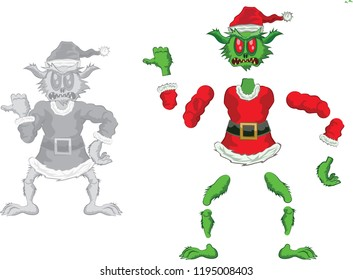 Green Ogre in Christmas for Animation  pointing out angry