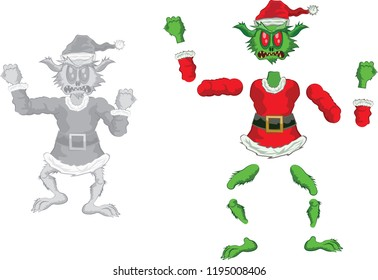 Green Ogre in Christmas for Animation very furious