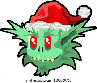 Green Ogre in Christmas cute with hat