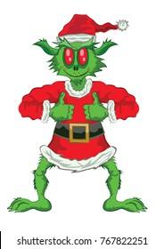 Green Ogre in Christmas full body