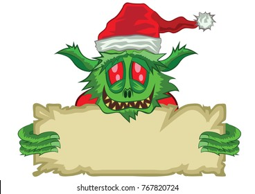 Green Ogre in Christmas with poster
