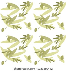 Green olive vector floral seamless pattern on the white background