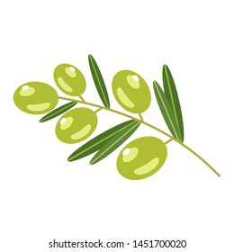 Green olives on a white background. Vector illustration