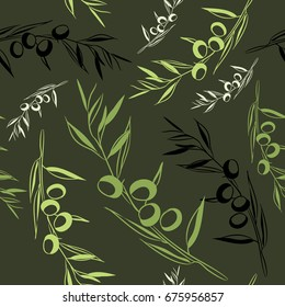 Green olives seamless pattern. Vector illustration on dark green background