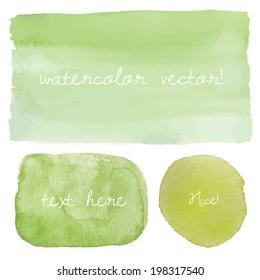 Green Ombre Watercolor Vector Elements