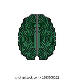 Green on black microcircuit in the shape of human brain
