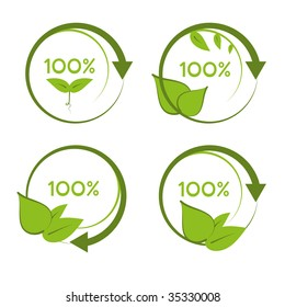 Green one hundred percent recyclable organic designs.