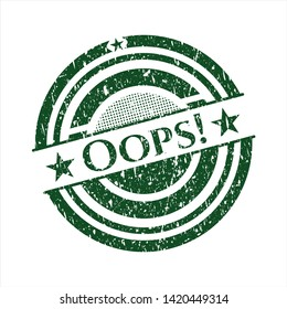 Green Oops! distress grunge seal