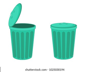 Green Open Close Dust Bin Vector