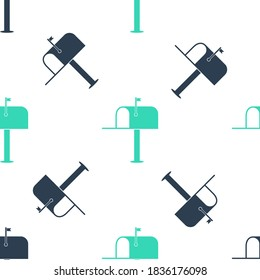 Green Open mail box icon isolated seamless pattern on white background. Mailbox icon. Mail postbox on pole with flag. Vector.
