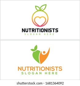 Green orange black love circle people leaf modern logo template suitable for Technology Software Applications Nutritionists Healthcare healthy food diet fruit vegetarian slimming care doctor business