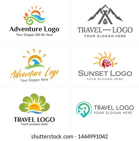 Green orange line art logo design sun wave flower and mountain suitable for travel hotel holiday family outdoor beach adventure