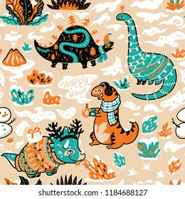 Green and orange winter dinosaurs in sweaters, hats and scarves. Holidays endless wallpaper for wrapping paper, fabric textile design. Vector illustration