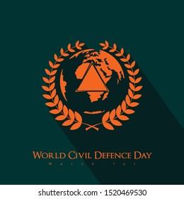 Green orange World Civil Defence Day with a symbol of rice surrounding the earth and a triangular symbol