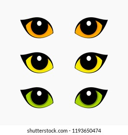 Green, orange and yellow cat eyes set isolated on white background. Vector illustration