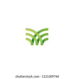 Green Organic Farm logo concept. Abstract linear logotype template. Vector illustration eps10.