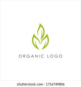 Green organic leaf symbol icon logo