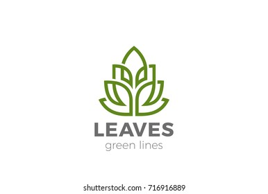 Green Organic Leaves Plant Logo design vector template Linear style. Eco Natural product cosmetics SPA Logotype concept icon.