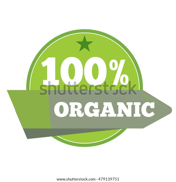 Green organic natural eco label warranty and quality. Vector illustration