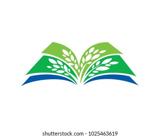 Green Organic Seed And Book Logo Illustration