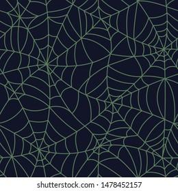 Green Organic Spider Web Halloween Seamless pattern