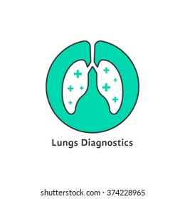 green outline lungs diagnostics with cross. concept of world tuberculosis day, pneumonia test, cure, trachea. isolated on white background. flat style trend modern logotype design vector illustration