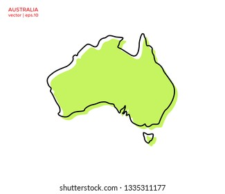 Green Outline Map of Australia Vector Design Template. Editable Stroke