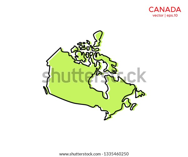 Map Of Canada Template.Green Outline Map Canada Vector Design Stock Vector Royalty