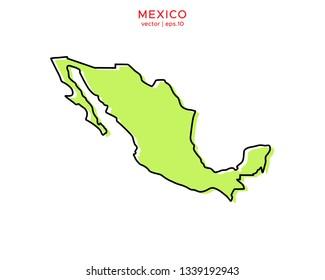 Green Outline Map of Mexico Vector Design Template. Editable Stroke