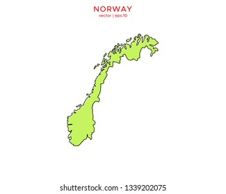 Green Outline Map of Norway Vector Design Template. Editable Stroke