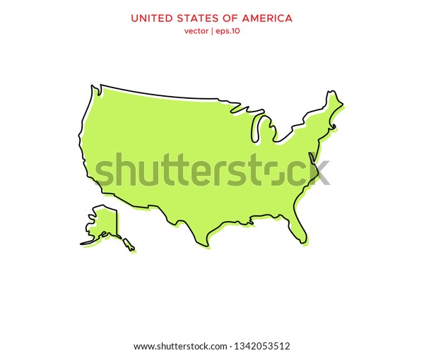 Green Outline Map United States America Stock Vector ...