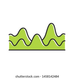 Green overlapping waves color icon. Sound wave with flowing, fluid effect. Digital soundwave, audio waveform, audio rhythm. Music, stereo frequency. Isolated vector illustration