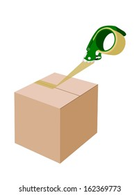 A Green Packing Tape Dispenser or Adhesive Tape Dispenser Closing A Brown Cardboard Box Isolated on White Background.