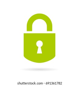 Green padlock vector icon on white background