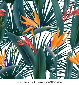 Green palm leaves and Strelitzia Reginae seamless pattern, bird of paradise,  crane flower, bromelia. South African flowers and palm background vector. Fabric, textile with tropical leaves and blossom