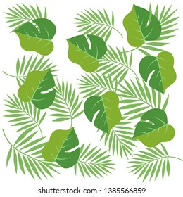 Green palm leaves summer pattern vector illustration