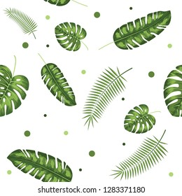Green Palm Leaves Tropical vector isolated illustration on white background, Pattern and summer set