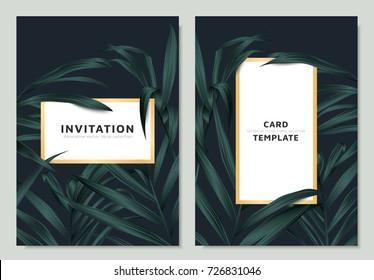 Green palm leaves with white golden border frame on dark background, invitation card template design
