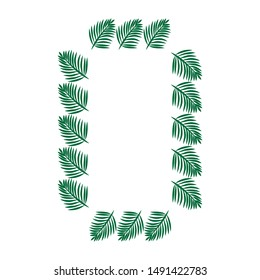 green palm tree branches, vector frame