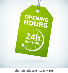 Green paper 24h nonstop opening hours vector tag. isolated from background. layered.