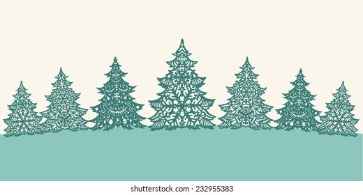 Green paper Christmas trees decoration