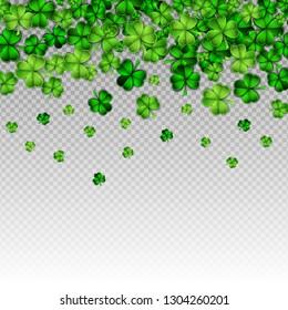 Green paper cut Happy Saint Patrick Day traditional symbol. Shamrock three leaf clover-modern trendy flyer concept.